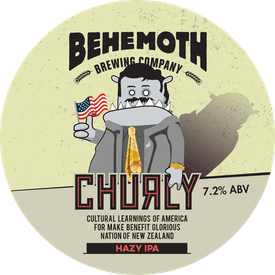 Churly Cultural Learnings of America to make great glorious nation of New Zealand Hazy IPA tap badge