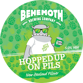 Hopped Up On Pils tap badge